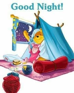 pooh and piglet bedtime Cute Good Night, Good Night Sweet Dreams, Good Night Gif, Good Night Image, Winnie The Pooh Pictures, Cute Winnie The Pooh, Winnie The Pooh Quotes, Good Night Greetings, Good Night Wishes