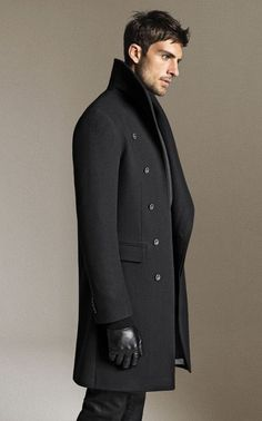 Charcoal Grey Polymide/Nylon/Wool/Cashmere Overcoat, via ZARA. Mens Fall Winter Fashion.