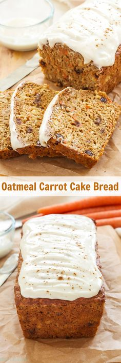 Oatmeal Carrot Cake Bread   100% whole grain, no butter or oil and loaded with carrots, pineapple and raisins! This Oatmeal Carrot Cake Bread is perfect for brunch or dessert!