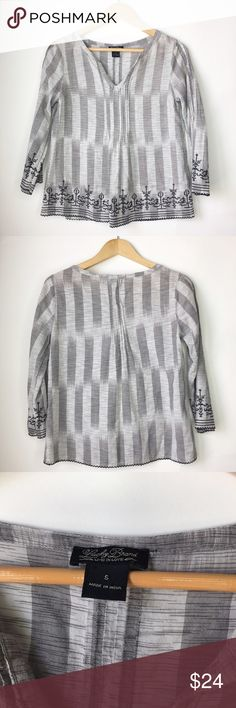 """Lucky Brand 3/4 Sleeve Bohemian embroidered Blouse Excellent condition. Lucky brand 3/4 Bohemian style Blouse. Embroidered detail. Size S. Chest 18"""" flat across. Length from shoulder to bottom 24"""". Light grey and black color. Fabric: 100% cotton. Lucky Brand Tops Blouses"""