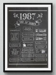 LoveAndLilies.de | Retro Chalkboard 1987 - Geburtstagsposter zum 30. Geburtstag. Als Print in vielen Formaten oder zum Download erhältlich