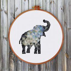 Geometric Elephant minimalist elephant cross stitch by ThuHaDesign