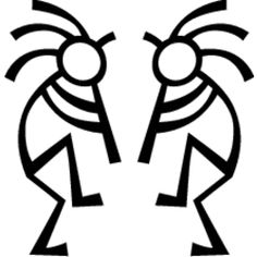 Kokopelli, the Native American deity is a symbol of fetrility, a trickster and is synonymous with music. This decal features two dancing Kokopellis playing