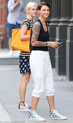 Hitting the streets: Ruby Rose and fiancee Phoebe Dahl headed out in New York on Friday