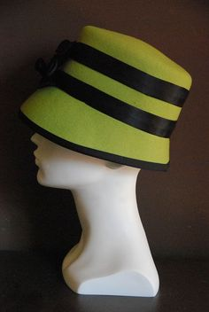 Lime green felt cloche hat for women with black by FINKAmendocino, $235.00