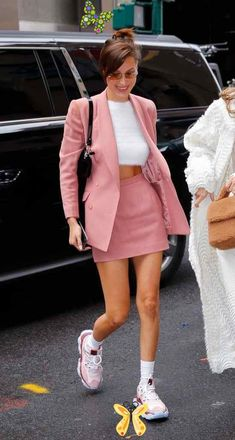 Bella Hadid Rocked a Pink Skirt Suit With an Asos Fuzzy Sweater and Chunky Dad Sneakers Bella Hadid Rocked a Pink Skirt Suit With an Asos Fuzzy Sweater and Chunky Dad Sneakers<br> Another Fashion Month has come and gone, and while we are still in awe of the dazzling designs that walked the runways in New York, London, Milan, and Paris, Pink Fashion, Trendy Fashion, Fashion Dresses, Fashion Looks, Womens Fashion, Monochrome Fashion, Fashion Fashion, Fashion Ideas, Fashion Inspiration