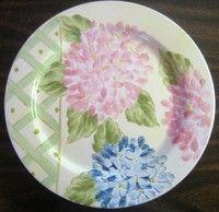 Pink Blue Hydrangea Lattice Garden Plate L