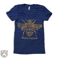 Womens SAVE The BEES american apparel t shirt S M L by ZenThreads
