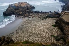 A Man Takes A Single Rake to The Beach. And When You Zoom Out And See It…