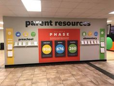 Parent hub idea - It's just a phase parent resource board. Kids Church Decor, Kids Church Rooms, Church Nursery, Church Ideas, Church Interior Design, Church Design, Church Welcome Center, Church Lobby, Church Events