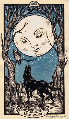 The origins of the Tarot are surrounded with myth and lore. The Tarot has been thought to come from places like India, Egypt, China and Morocco. Others say the Tarot was brought to us fr Art And Illustration, Art Illustrations, Moon Art, Moon Moon, Blue Moon, Art Graphique, Tarot Decks, Moon Child, Stars And Moon