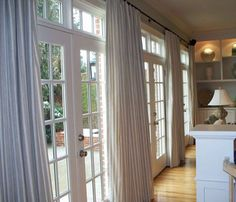 This page provides tips and guide on French door shades and other window treatment blinds. It's best resources for French door. Glass Door Curtains, Sliding Door Curtains, Patio Door Curtains, French Door Curtains, Sliding Door Window Treatments, Sliding Glass Door, Window Coverings, Glass Doors, Sliding Doors