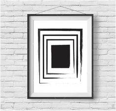 Minimalist Painting, Brush Stroke Art, Paintbrush Print, Modern Painting, Abstract Art, Black & White Decor, Scandinavian Print, Digital Art