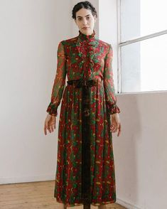 Vintage #Jeanmuir printed silk chiffon gown - Newly Available Online. #Devorevintage