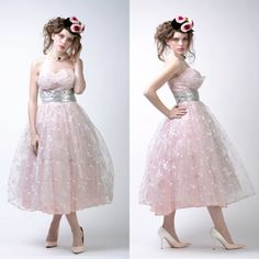 vintage 50s Pink Lace Party Dress  Silver Metallic by viavintageco, $345.00
