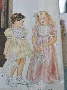 "Can use the Cottage Mama ""Clare"" pattern for this look..............Vintage 1980's Little Vogue Children Girl's Long or Short Dress Tucked Inset 1401 Sewing Pattern Size 3 4 5"