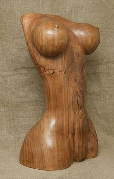 Carved wood karagach (elm tree species) #sculpture by #sculptor Alexey Bykov titled: 'Artificial Venus (Carved Wooden Breasts sculptures)'. #AlexeyBykov