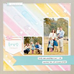 Rainbow of pastel colours. CTMH Scrapbook page featuring the National Stamping Month Stamps: Hello, Life!