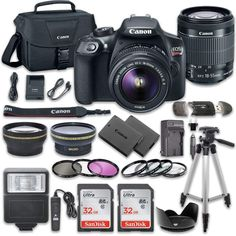 MOM wants Canon! Canon EOS Rebel DSLR Camera Bundle with Canon EF-S IS II Lens + SanDisk Memory Cards + Accessory Kit. Camera Bundle comes complete with all manufacturer supplied accessories with a warranty. Best Dslr, Best Camera, Canon Dslr, Canon Ef, Camera Vector, Canon Battery, Cameras Nikon, Leica Camera, Film Camera