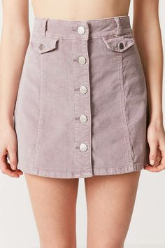BDG Corduroy Button-Front Mini Skirt - Urban Outfitters