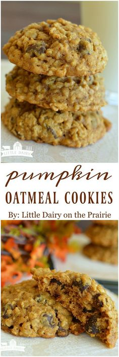 MAKE GF Pumpkin Oatmeal Cookies are soft and filled with cinnamon and chocolate…