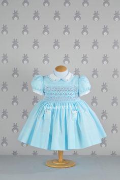 Duck Egg Mini Check Smocked Dress - Emily Rabbit