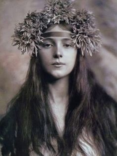 Vila - Any of a class of Slavic dryads, tree-spirits who are exclusively female. They are often vicious and cruel, and have a dire reputation; nevertheless, if one succeeds in approaching a Vila properly, she may be inclined to heal, give advice, reveal treasure, or teach magical and medicinal arts. (Photo of Evelyn Nesbit)