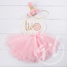 "2nd Birthday Outfit Donut ""TWO"" Pink Polka Dot Sleeveless Tutu Dress & Pink Princess Party Hat"