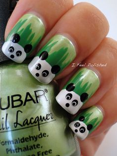 Image via Panda nail art designs Image via How to Create Cute Panda Nail Art Image via Panda nails! Image via Nail Art Water Decals Transfers Sticker Lovely Panda Bamboo Panda Bear Nails, Panda Nail Art, Animal Nail Art, Panda Bears, Panda Panda, Fancy Nails, Love Nails, Diy Nails, Trendy Nails