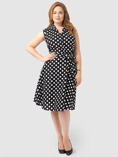 Polka Dot Dress With Collar In Black