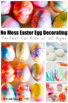 No Mess Easter Egg Decorating Method for Kids Using Markers: Easy for kids of all ages including toddlers and preschoolers, and the eggs turn out beautiful.