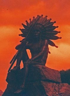 redscale photography 35mm Native American statue at Fruitlands Museum Harvard MA by Bob See