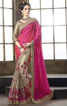 Rose Pink Saree With Attractive Plain Pallu.This Rose Pink Tussar Silk Saree is accenting the charming feeling. The ethnic Butta Work & Sequins Work work at the clothing adds a sign of attractiveness statement with your look. Indian Bridal Sarees, Latest Indian Saree, Wedding Sarees Online, Wedding Sari, Buy Designer Sarees Online, Indian Designer Sarees, Sarees Online India, Silk Sarees Online, Fancy Sarees