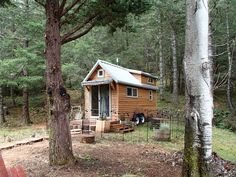 Tiny House for Two - A 160 square feet tiny house on wheels built from a modified version of The Tumbleweed Walden in Oregon (pinned by haw-creek.com)