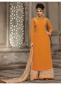 Ethnic Wear Orange & Cream Georgette Palazzo Suit - 21009