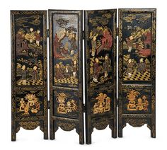 Fine Early Chinese Wooden Folding Screen with Chinoiserie Decorations. Lot # 28.