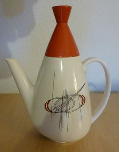 "www.cathys-curios.co.uk repinned & tweeted this - Carlton ""Orbit"" coffee pot in more detail. 1950s."