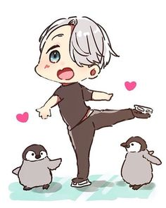 Viktor Nikiforov (With Kawaii Chibi Penguins) - Yuri! On Ice Otaku Anime, Anime In, Anime Kawaii, Anime Chibi, Anime Love, Kawaii Chibi, Anime Guys, Yuri Plisetsky, Yuri On Ice