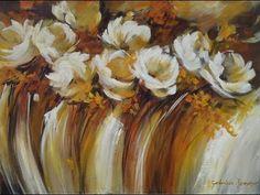 VER VIDEO > Como pintar con acrílico y espátula - Cuadro flores abstractas