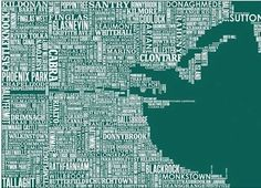 Typographic map of Dublin.