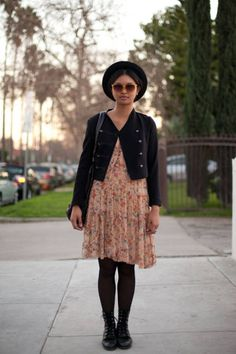 Los Angeles Who : Justine What : LA girls know how to use their accessories—take some cues and wear both a hat and sunglasses for extra protection and style. Wear : French Connection dress, Forever 21 jacket, vintage sunglasses and boots, Bottega Veneta bag, Obey hat   Read more: Global Street Style - Discover More Street Style  Follow us: @ElleMagazine on Twitter | ellemagazine on Facebook  Visit us at ELLE.com