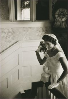 Jacqueline Kennedy at Hammersmith Farm in Newport, Rhode Island on the day of her wedding in 1953.