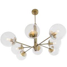 Varaluz Mid Century Antique Brass Eight Light Chandelier 612730 Linear Chandelier, Sputnik Chandelier, Chandelier Lighting, Chandeliers, Mid Century Chandelier, Glass Ceiling Lights, Glass Installation, Modern Pictures, Glass Globe