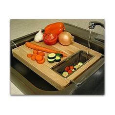 Trademark  Chromed steel and wood oversink kitchen cutting board on Wanelo