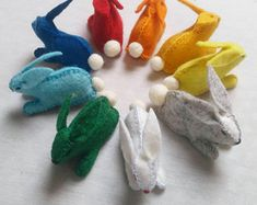 Natural toys wool felt animals role play Waldorf eco by Felthorses Felt Bunny, Bunny Rabbit, Felt Gifts, Natural Toys, Wool Art, Colorful Animals, Unique Presents, Felt Toys, Felt Animals