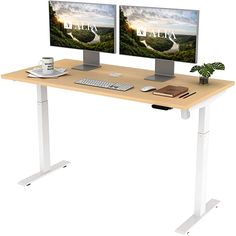 """Amazon.com: ALFA Furnishing Height Adjustable Desk, 60"""" x 30"""" inches Whole Piece Desk Board, 2 Pre-Set Memory Button Electric Sit Stand Desk Standing Desk for Home Office Workstation: Home & Kitchen Sit To Stand, Sit Stand Desk, Home Desk, Home Office Desks, Electric Standing Desk, Office Workstations, Adjustable Height Desk, All Modern, White Light"""