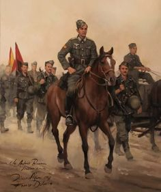 Comandante Antonio Barrera, obra de Augusto Ferrer-Dalmau of Spain's Blue Division fighting on the Eastern Front from Historical Art, Historical Pictures, Military Art, Military History, Division, Army Drawing, Apocalypse Art, German Army, World History