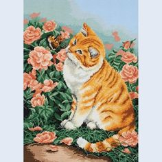The Butterfly Cat - counted cross stitch kit Coats Crafts