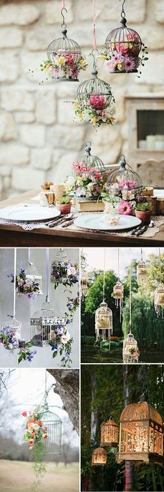 Jaulas para decorar tu boda. #wedding #birdcage Birdcages, Debutante, Our Wedding, Rustic Wedding, Birdcage Decor, Hanging Flowers, Deco Nature, Table Centerpieces, Event Decor