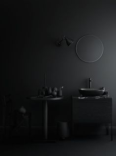 Some beautiful dark bathrooms styled by Swedish stylist Lotta Agaton , the first two pictures are part of a home shown in Residence maga. Black Interior Design, Bathroom Interior Design, Home Interior, Interior Architecture, Simple Interior, Interior Designing, Modern Interior, Bathroom Inspiration, Interior Inspiration